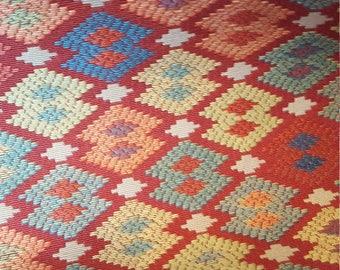 Red Aqua Cobalt Gold WOVEN DIAMOND ETHNIC Upholstery Fabric, 08-60-20-0817