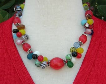"Fun, Colorful, Chic Bella Wedding Beads, Old & New Glass Teardrop Beads,Red Glass African ""Egg"" Beads,Necklace and Earrings by SandraDesigns"