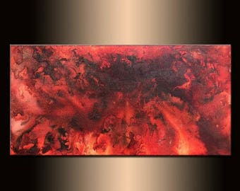 Abstract Painting, Original Abstract painting, Contemporary Modern Fine Art, Red ,Black Canvas Art, by Henry Parsinia Large 48x24