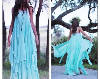 Summer maxi dress, Stevie Nicks gypsy soul woodland sundress, Romantic turquoise spell and gypsy sumer dress, Boho dress True Rebel Clothing