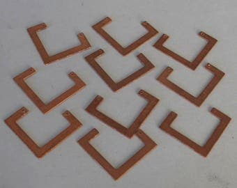 Drilled Geometric Copper  Shapes 10 Pieces