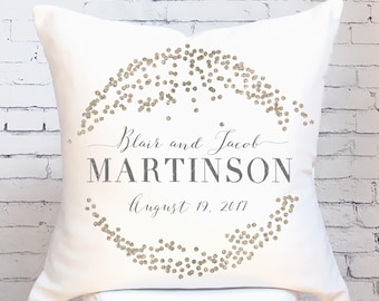 Cotton Anniversary Gift Wedding Gift Pillow Cover Personalized Gold Dots Wedding Pillow Cover Cotton Anniversary Gift Pillow Cover