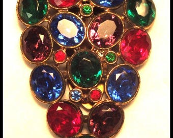 Large Vintage Art Deco Multi-Color Faceted Rhinestone Dress Clip or Fur Clip Free Shipping
