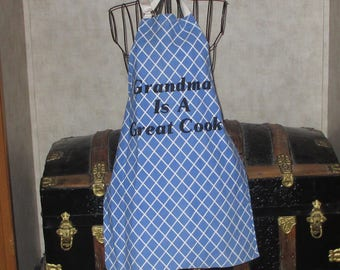 Butcher style apron says Grandma is a Great Cook blue and white full apron