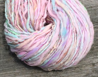 Handspun yarn spun with merino, silk, bamboo silk, sparkly gold - 70 yards, 1.05 ounces/ 30 grams