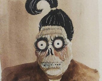 Original Beetlejuice Illustration Shrunken Head