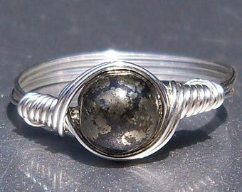 25% Off Sale Pyrite Argentium Sterling Silver Wire Wrapped Ring