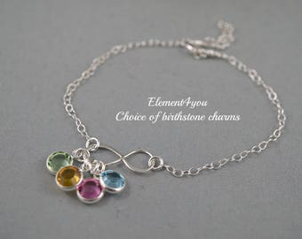Personalized Infinity Bracelet with Birthstone Mothers day bracelet Sterling silver bracelet infinity jewelry gift for sister mom friend