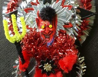 Vintage Look Victorian Halloween Ormament-Creepy Vintage German Scrap Devil ,Vintage Tinsel, German Dresdens, Spun Glass, Chenille Stems