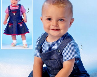 Baby Overalls Pattern, Baby Girls' Jumper Pattern, Sz 8 to 29 lbs,  McCall's Sewing Pattern 7038