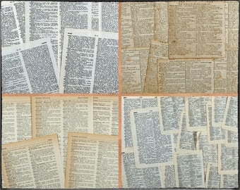 45 vintage dictionary pages, English and French and German, word meanings, dates in history, for art and craft, for collage or for decoupage