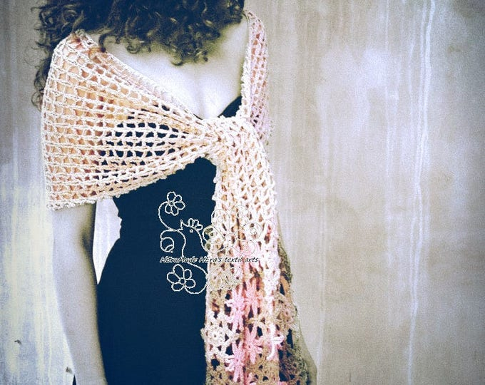 Featured listing image: Pastel lace floral long crochet scarf rustic wedding feminine beige scarf cottage chic