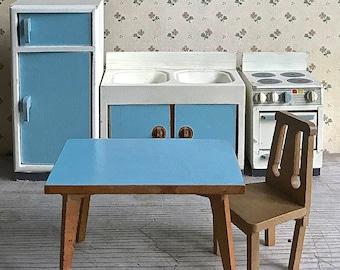 Vintage Bodo Hennig Dollhouse Furniture Kitchen Set 5 Pieces Germany Mid Century Miniatures Toy