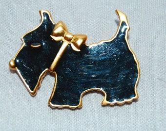 Vintage / Brooch / Scottie / Dog / Black / Enamel / old / jewelry / jewellery