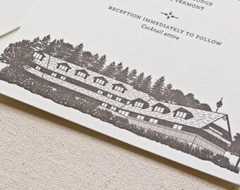 Trapp Family Lodge Wedding Invitation, Letterpress printed SAMPLE