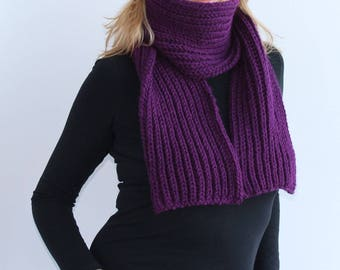 Purple knit scarf, Extra long knitted scarf in purple,  Warm knitted scarf.