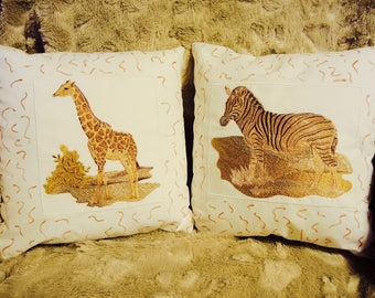 Pair of Safari Decorative Pillows,  Zebra, Giraffe, Embroidered