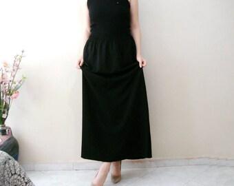 Black Long Skirt Plus size, Maxi Black Skirt, Oversize Long Casual Skirt One size fit L XL XXL XXXL