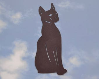 "Egyptian Cat Silhouette warns birds 5"" x 10.5"" static cling"