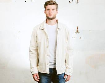 Men Beige Trucker Jacket . Vintage 90s Jeans Jacket Outerwear Clothing Coat Unisex Crop Jacket . size Large