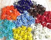 Vintage Czech Venetian Lampwork Flower Beads, Glass Flower Drops, Blue Flower Charms, Wire Loop, glass Flowers, Blue Opal, 3D Charms #1709R