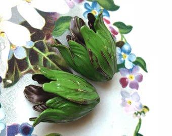 Green Patina Bead Caps, Vintaj bead caps bead caps, Leaf Petal beads, Tulip Bead caps, Artsy Blossom Large 22mm Antiqued Boho #707BV
