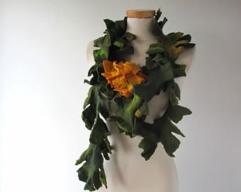 Felted scarf, Green felt lariat, Green scarf Yellow flower, Green felt necklace ,   gift under 50,  long scarf