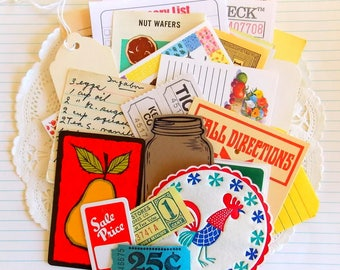 Vintage Kitchen Cooking Ephemera Pack / 30 Pieces / Vintage Ephemera / Paper Ephemera / Recipes