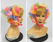 1960s Colorful Floral Head Kerchief // Flower Power Head Scarf // Triangular Scarf // 3D flowers Pastel Pink blue Yellow