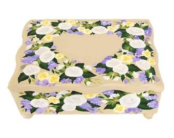 Personalized Orchid Roses Wedding Keepsake Box - Heart Design - Wedding Gift Card Box, Shower Box Custom Memories Box