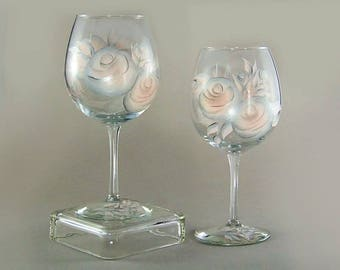 Blush Pink and Silver Wine Glasses - Hand-Painted Roses, Personalized Set of 4 - 21st Birthday Gifts 25th Anniversary Gift Ideas