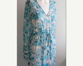 SUMMER SALE vintage. Genny Butterfly Print Aqua Blues Flowy Silk Dress