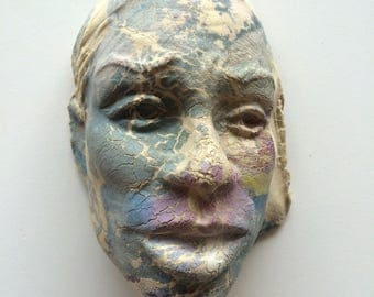Ceramic Wall Art Mask of a Woman, Sculpture Face With Mud Crack Surface