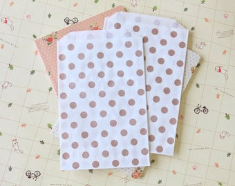 Polka Dot ROSE GOLD Middy Bitty Bags medium paper bags