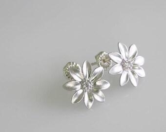 Silvery Flower Earrings - Simple Earrings - Stud Earrings - Silver Brushed Flowers - Brushed Silver Earrings - Everyday Earrings