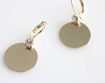 Gold Dot Earrings - Simple Earrings - Celebrity Inspired - Dangle Earrings - Everyday Earrings - Polished Disc Earrings - Disc Earrings