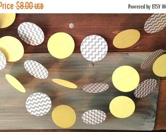 End of Summer Sale Gray Chevron and Pale Yellow Gender Neutral Paper Garland Birthday Party Decor, Baby Shower Decor, Nursery Decoration