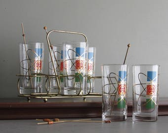 vintage atomic  -RCA Victor - drinking glasses  - bar ware - set of 6 -techno style