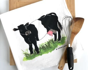 Cow Tea Towel, Flour sack dish towel