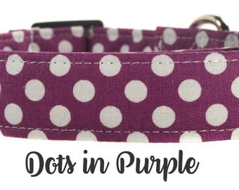 Purple and White Polka Dot Dog Collar - The Dots in Purple