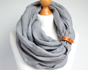 LINEN Infinity Scarf tube scarf with cuff, baltic linen scarf, gift ideas, european linen infinity SCARF, lightweight linen scarf with strap
