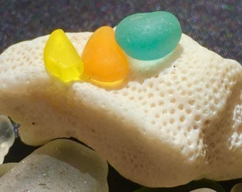 Sea Glass or Beach Glass of Hawaii beaches!  ORANGE! BRIGHT YELLOW! Jewelry quality!  Seaglass