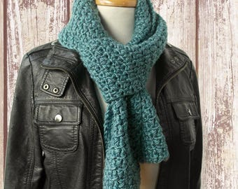Teal Blue Mens Knitted Scarf - Blue Crochet Scarf - Unisex Handknit Winter Scarf