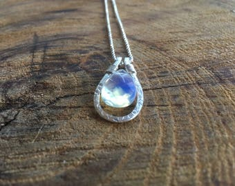 Silver Floral Print and Opal necklace. Opal pendant