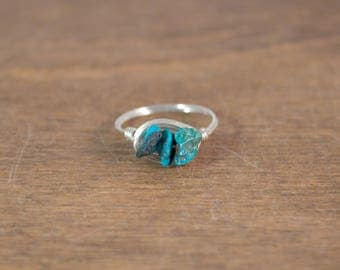 Turquoise Chip Sterling Silver Wrap Ring - Stackable