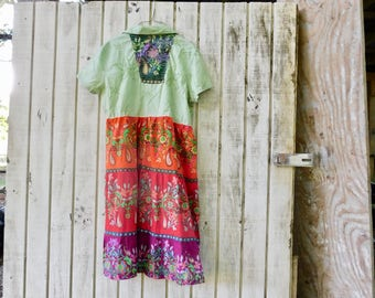 Cotton Dress, Wearable Art, Bohemian, Summer Dress, Loose Fit Dress, Tunic, Upcycled Dress, Spring, Romantic, Floral, Boho, Gypsy, Aline