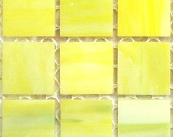 """20mm (3/4"""") Pale Yellow TIFFANY STAINED GLASS Mosaic Tiles//Machine Cut Tiles//Mosaic Pieces//Mosaic Supplies"""