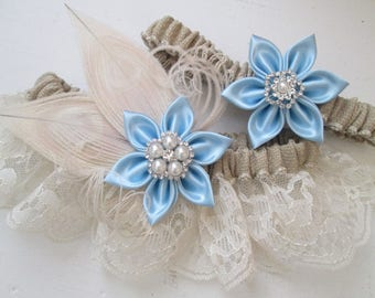 Burlap & Lace Wedding Garter Set, Something Blue Garters, Ivory Peacock Garters, Rustic Bridal Garter with Light Blue Flowers, Country Bride