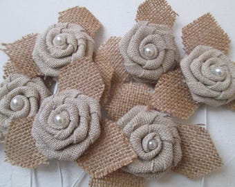 Rustic Burlap Roses, Burlap Fabric Flowers, DIY Bride, Rustic Country Wedding Decor Supplies for Centerpieces, Boutonnieres, Garters
