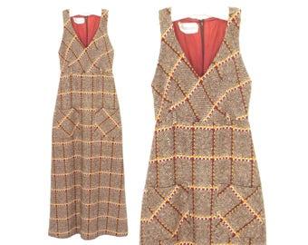 vintage jumper dress * tweed dress * wool dress * 70s dress * racer back maxi dress * xs